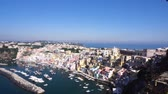 Procida island skyline with colorful houses, harbour aerial view, Italy Vídeos