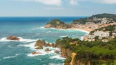 приморский : View over Tossa de Mar town on Costa Brava, Spain Стоковые видеозаписи