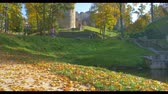 ruína : Autumn day in a park near Cesis castle , Latvia