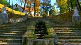 muro de pedras : Steps in a park near Cesis castle, Latvia
