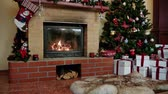 velas : Christmas decorated house interior with fireplace Vídeos