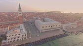набережная : Drone aerial flying over San Marco square and The Doges Palace embankment.