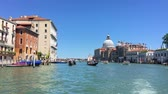 maryja : VENICE, ITALY - JUNE 19, 2016: Grand Canal with various canal traffic and Basilica Santa Maria della Salute on the background. Venice Wideo