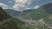 noruega : Amazing aerial view of the scenic Ovre Ardal village, Norway