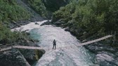 suspensão : Aerial view of a woman hiker standing on the suspension bridge over wild mountain river. Vídeos