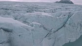 noruega : Amazing aerial view on scenic Jostedalsbreen glacier with group of climbers on it, Norway
