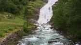 noruega : Scenic view of Vettisfossen waterfall. Norway. Stock Footage