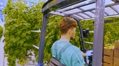 rolnik : Young attractive man working on electric forklift in greenhouse