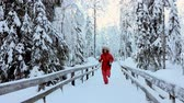 снег : Happy woman running in beautiful snowy winter forest Стоковые видеозаписи