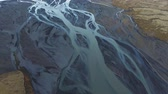 красочный : Aerial view of beautiful river near Hrifunes, Iceland Стоковые видеозаписи