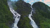 noruega : Aerial view of Latefossen waterfall in Norway Stock Footage