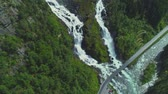 escandinávia : Aerial view of Latefossen waterfall in Norway Vídeos