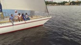 regata : Happy friends taking selfie on a yacht Stock Footage
