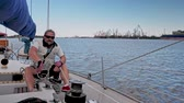 regata : Captain on a yacht during race. Stock Footage
