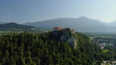 Aerial Bled castle view, Slovenia Stock Footage