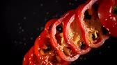 pedaços : Fresh vegetables frozen in mid-air. Shooted in super slow motion