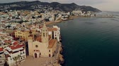 church : Aerial view of small town with harbour Stock Footage