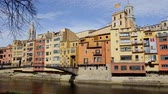 church : Beautiful view of Girona, Spain Stock Footage