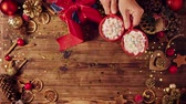 лук : Wooden table with Christmas decoration