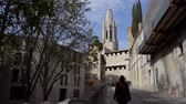 residência : Girona Cathedral in Catalonia, Spain. Stock Footage