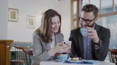 having fun : Happy couple in love having beautiful romantic dinner Stock Footage