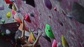 muren : Athletic man practicing in a bouldering gym Stockvideo