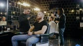berber : Client visiting luxury barber shop Stok Video