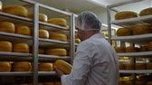 especialidade : Cheesemaker checking ready product in a storage room Stock Footage