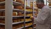 farmhouse : Cheesemaker checking ready product in a storage room Stock Footage