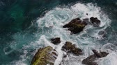 rocky mountains : Wave breaking rocky the seashore Stock Footage