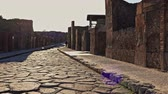 eruption : Ruins of famous Pompeii city, Italy Stock Footage