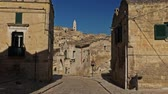 old movies : View of a beautiful Matera town, Italy Stock Footage