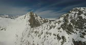 dağ geçidi : Passo del Tonale Italy. Snow covered mountain peaks filmed from a birde eye perspective. Drone shot.