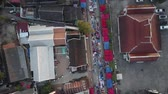 stan : Overhead aerial of the famous Luang Prabang Night Market in Laos.  Aerial shot.
