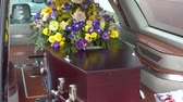 funeral service with casket, coffin & hearse Stock Footage