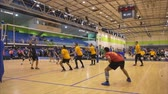 блоки : Auckland New Zealand 21.04.2017 Shot of volleyball players above 30 years old gathering in the world master game 2017 at Waitakere Trust Stadium
