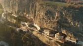ladakh : Aerial footage monastery carved into the rock at dawn Stock Footage