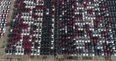 terrível : Aerial footage Many cars are in neat rows in the port