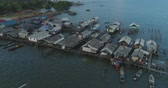 Aerial footage Settlement of fishermen on the water
