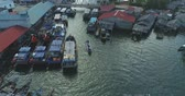 Aerial footage The boat between the fishing boats Stock Footage