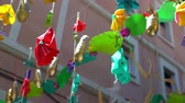 recyklace : street decoration made from recycled plastic bottles, bottle stopper and bags.