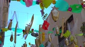 recyclable : street decoration made from recycled multicolored plastic bottles