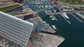 sailboat : panoramic view from the drone of the huge solar panel and seaport