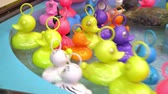 bains : colorful rubber ducks in the pool at the Christmas market float in circles