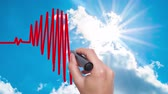 greyhound : Businessman hand drawing chart heartbeat - Man Hand writing with marker on sky time lapse. Health concept. Heart in the clouds. Heart Beat in shape of heart. 4k
