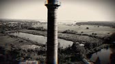 rez : Aerial shot of a old chimney with 1919 sign on it. Black anw white Dostupné videozáznamy