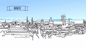 баварский : Munich Skyline with Alps in Background Animation, Hand Drawn Animated Sketch.