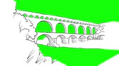 avignon : Aqueduct Avignion, France, Sketched Motion Sequence, 5 seconds buildup and teardown 5 sec Stock Footage