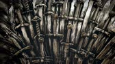 lovagi torna : Metal knight swords background. Close up. The concept Knights. 4K.