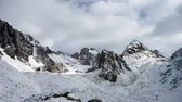 movement : Panoramic view of the winter mountains. Kyrgyzstan.Ala-Archa.